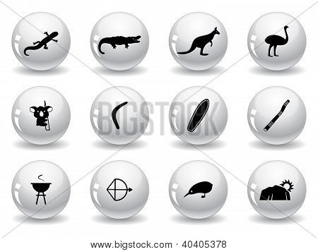 Web buttons, australian icons