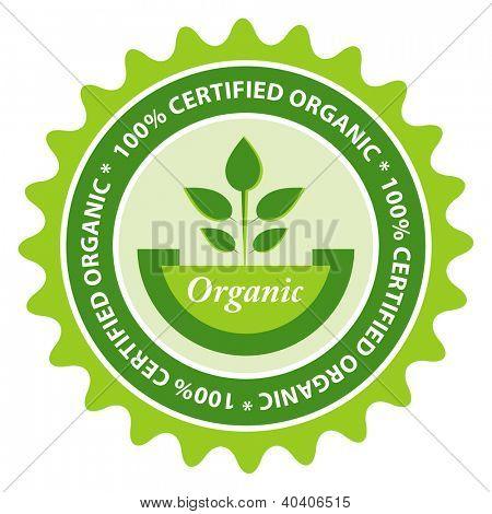 100% Certified organic food label.