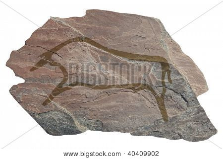 Buffalo . Old ancient petroglyph. Bronze age