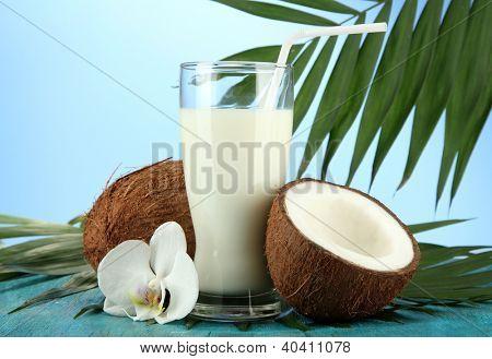 Cocos con vaso de leche, sobre fondo azul
