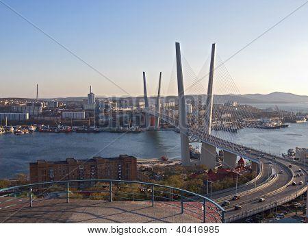 Suspension Bridge Through A Bay In Vladivostok