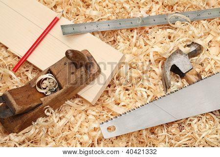 Vintage Carpenter's Tools Lying On Shavings