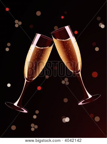 Vector Illustration Of Champagne Glasses Splashing