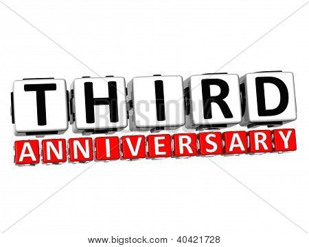3D Third Anniversary Button Click Here Block Text