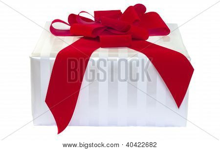 White Striped Gift With Red Bow