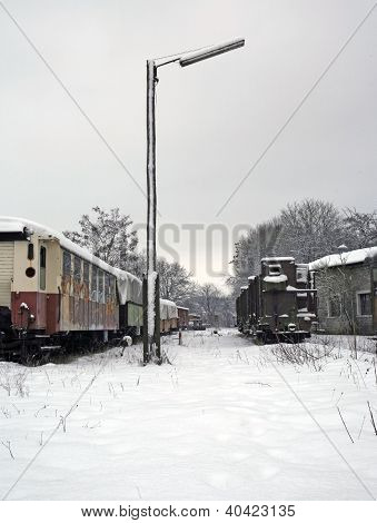 Old Railway Cars At Winter Time