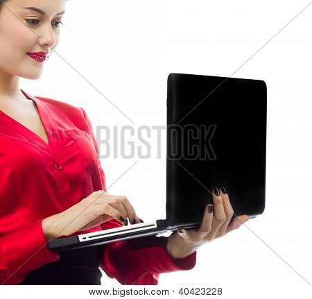 portrait of attractive  caucasian  woman isolated on white studio shot looking at notebook