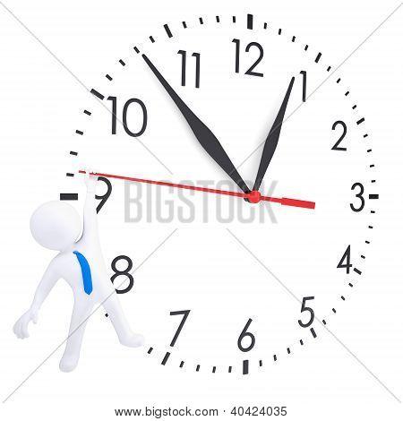 Weiße 3D Mann hängen an zweite Hand Uhren