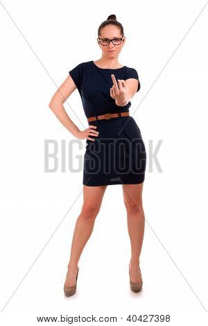 Woman making obscene hand gesture