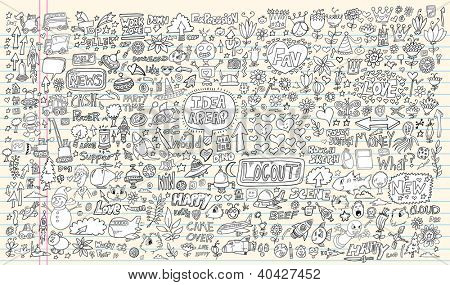 Notebook Doodle Design Elements Mega Vector Illustration Set