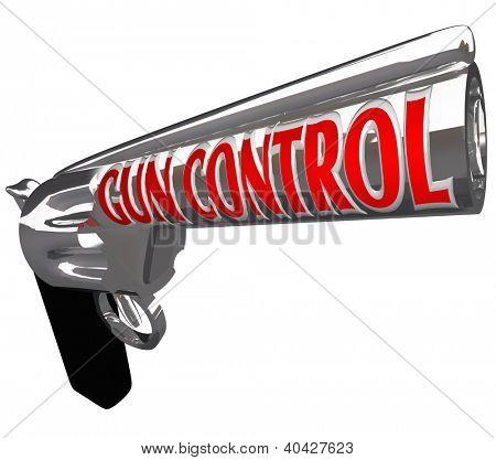 Постер, плакат: Огнестрельное оружие пистолет с словами Пушка контроля как просьба чтобы остановить насилие от Стрельба орудий и hurtin, холст на подрамнике