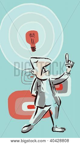 Idea Guy: Retro painterly style  man with idea bulb.