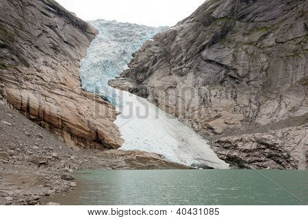 Jostedal glacier falls in to fjord,  Norway, Scandinavia, Europe