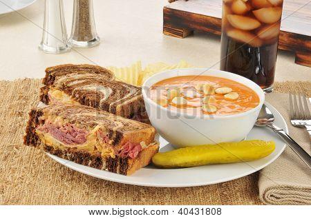 Reuben Sandwich With Tomato Bisque Soup