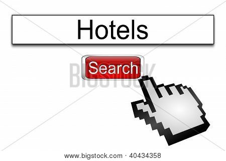 Internet web search engine hotels