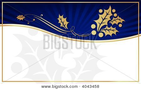 Blue And Gold Holly Adorned Gift Tag