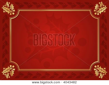 Red And Gold Holly Trimmed Background