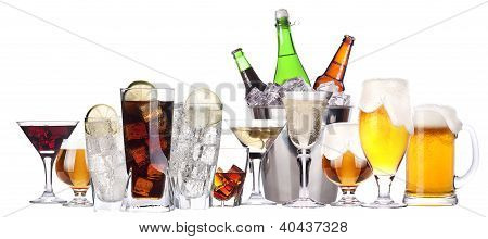 Different Images Of Alcohol Set Isolated
