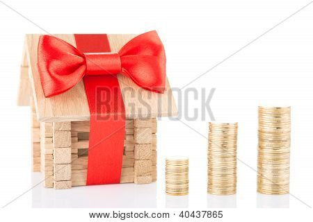 wooden house and money