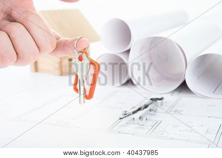 Blueprints hand with keys