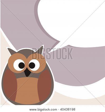 Funny vector owl talking, giving instructions. Hand drawn symbol of wisdom enlightening people.