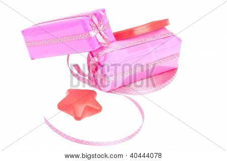 Two Gift With Red And Pink Ribbon
