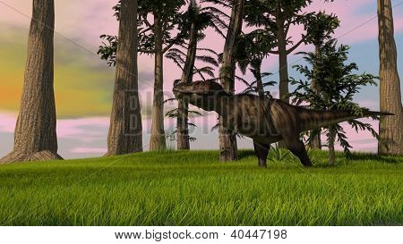 tyrannosaurus in jungle