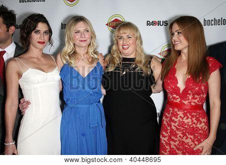 "LOS ANGELES - AUG 23:  Lizzy Caplan, Kirsten Dunst, Rebel Wilson & Isla Fisher ""Bachelorette"" Los Angeles Premiere  on August 23, 2012 in Hollywood, CA"