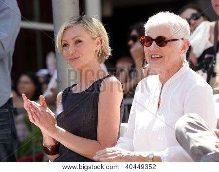 LOS ANGELES - AUG 03:  Portia De Rossi & Betty Degeneres arriving to Walk of Fame - ELLEN DEGENERES  on August 03, 2012 in Hollywood, CA