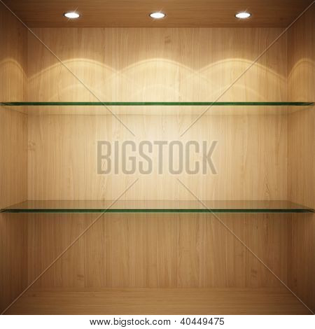 Empty wooden showcase with glass shelves for exhibition