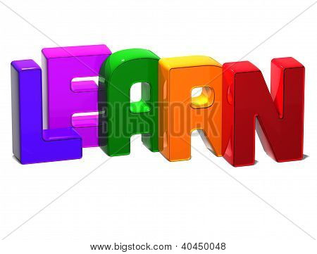 3D Word Learn On White Background