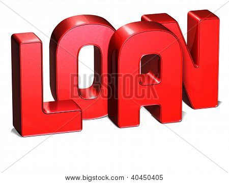3D Word Loan On White Background