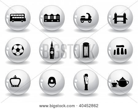 Web buttons, English culture icons