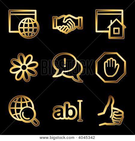 Gold Luxury Internet Communication Web Icons V2