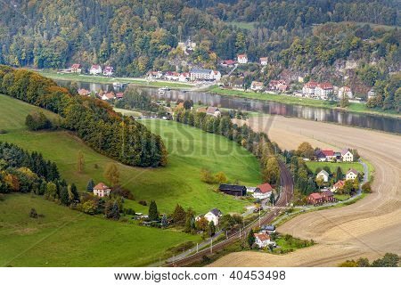 Landscape In Saxony With Elbe River