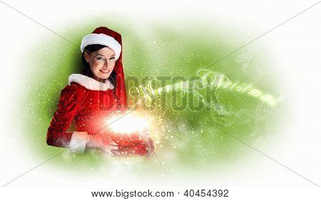 Christmas illlustration of beautiful girl in santa costume