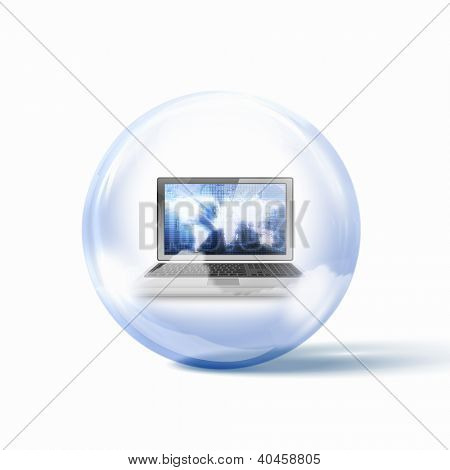Image of a personal computer inside a glass sphere