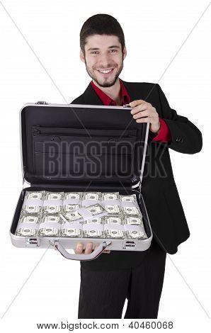 Businessman full of cash