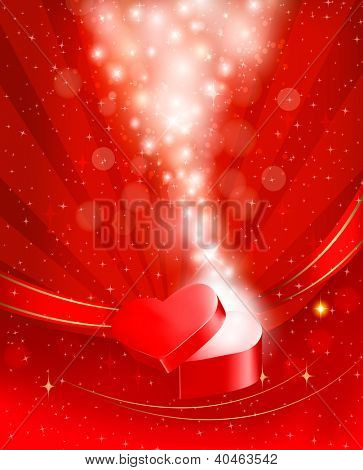 Valentine`s day background with open red gift box with bow and ribbons. Vector.