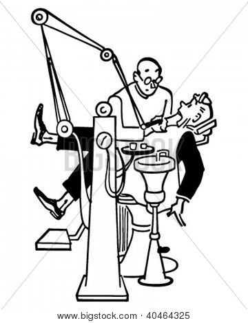 Visit To The Dentist - Retro Clipart Illustration