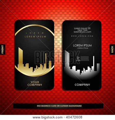 Black With Gold Business Card On Carbon Background