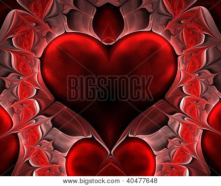 abstract fractal background with heart