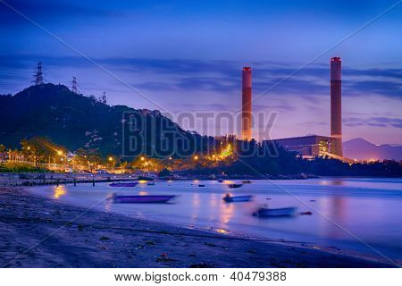 Night of Petrochemical industry , power plant