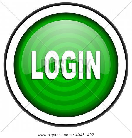 login green glossy icon isolated on white background