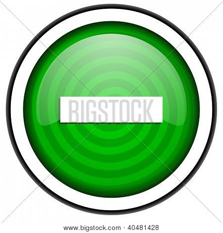 minus green glossy icon isolated on white background