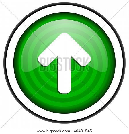 arrow up green glossy icon isolated on white background