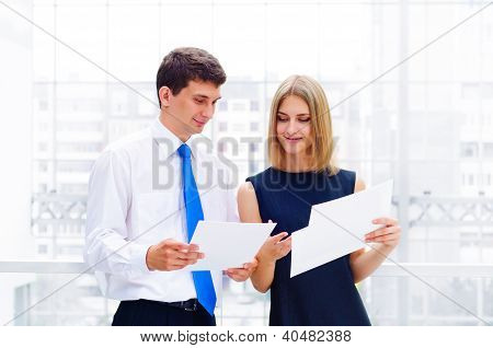 business man and business woman in the office