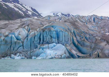 Fresh Ice Slide Exposing Cracks And Crevices In Margerie Glacier, Glacier Bay National Park, Alaska