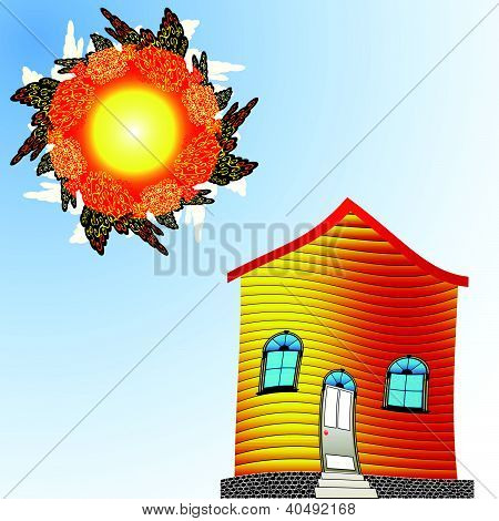 Twisted House And Sun