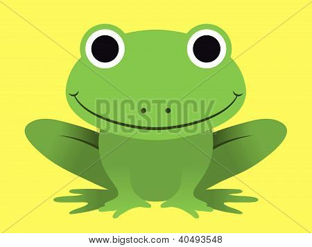 Cute happy smiling green frog